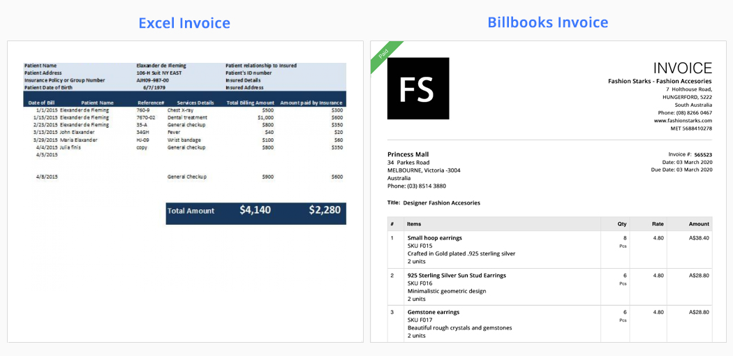 Billbooks and Excel Invoice Comparision