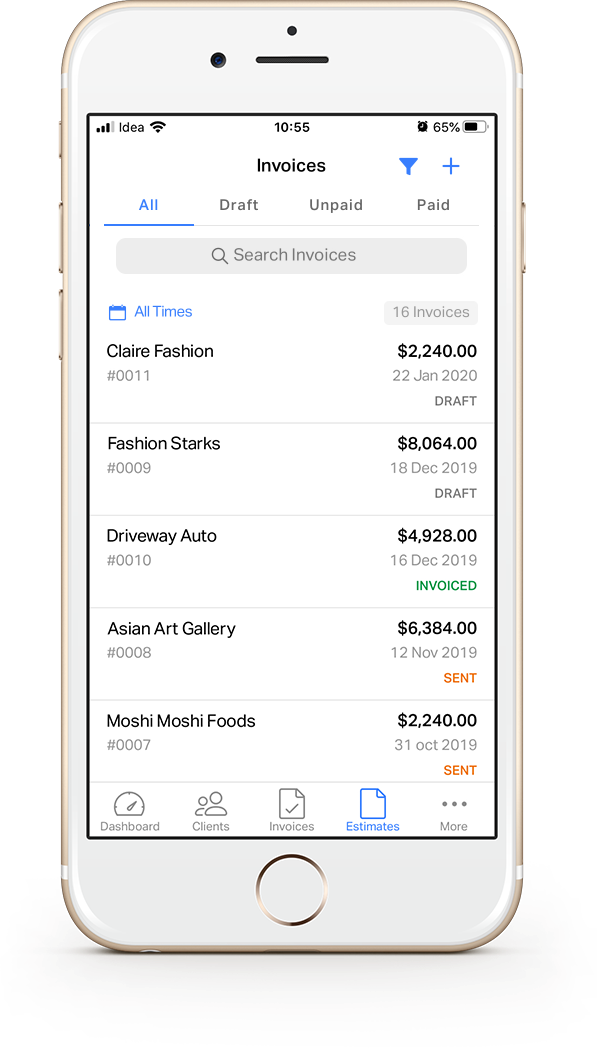 A glimpse of invoicing features